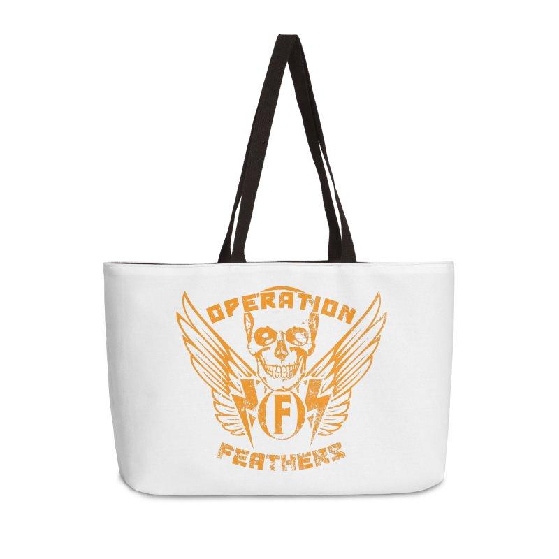 Operation Feathers Logo - Distressed Dark Orange on White Accessories Weekender Bag Bag by The Evocative Workshop's SFX Art Studio Shop