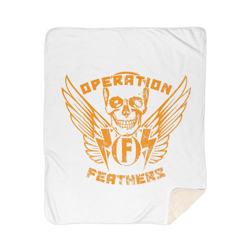 Operation Feathers Logo - Distressed Dark Orange on White Home Sherpa Blanket Blanket by The Evocative Workshop's SFX Art Studio Shop