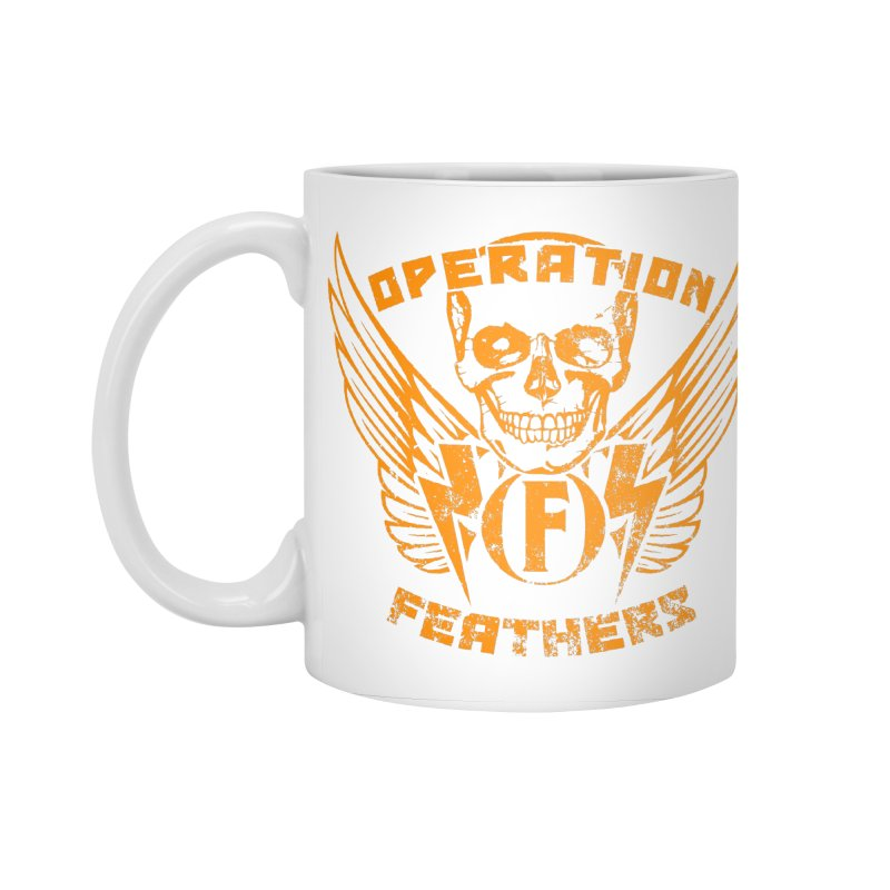 Operation Feathers Logo - Distressed Dark Orange on White Accessories Standard Mug by The Evocative Workshop's SFX Art Studio Shop