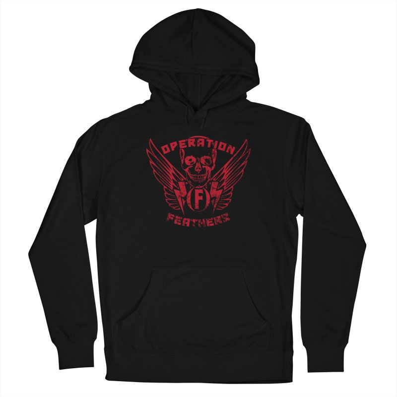Operation Feathers Logo - Distressed Blood Red Men's Pullover Hoody by The Evocative Workshop's SFX Art Studio Shop
