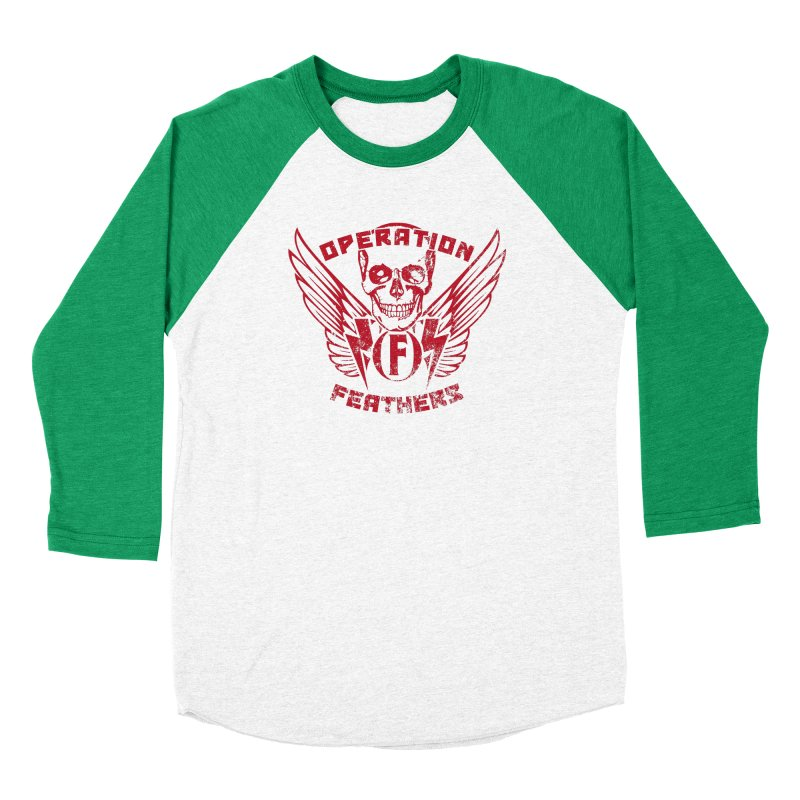 Operation Feathers Logo - Distressed Blood Red Men's Baseball Triblend Longsleeve T-Shirt by The Evocative Workshop's SFX Art Studio Shop