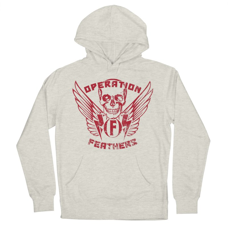 Operation Feathers Logo - Distressed Blood Red Women's French Terry Pullover Hoody by The Evocative Workshop's SFX Art Studio Shop