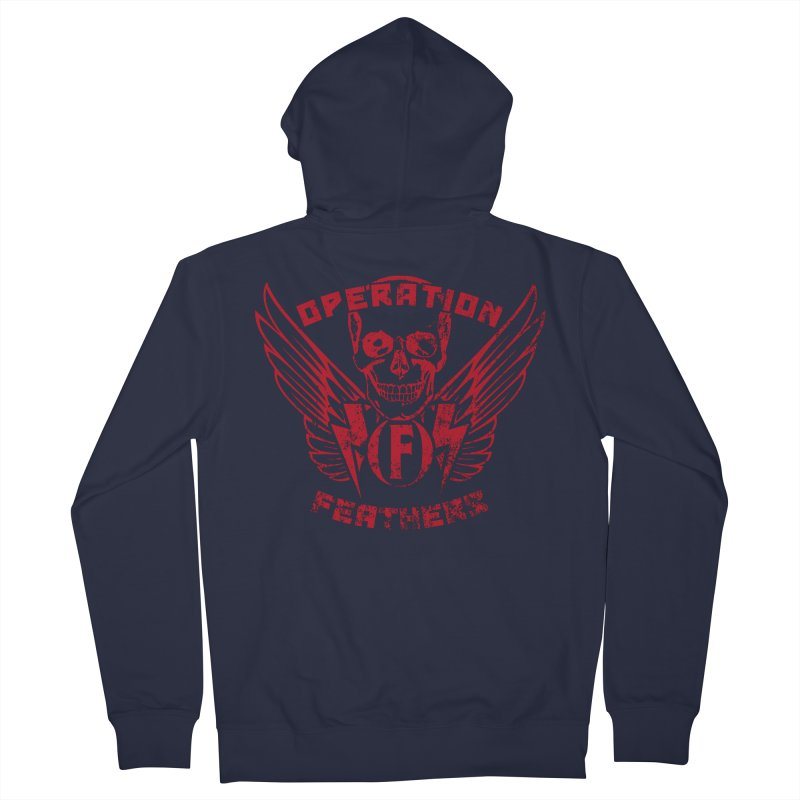 Operation Feathers Logo - Distressed Blood Red Men's Zip-Up Hoody by The Evocative Workshop's SFX Art Studio Shop