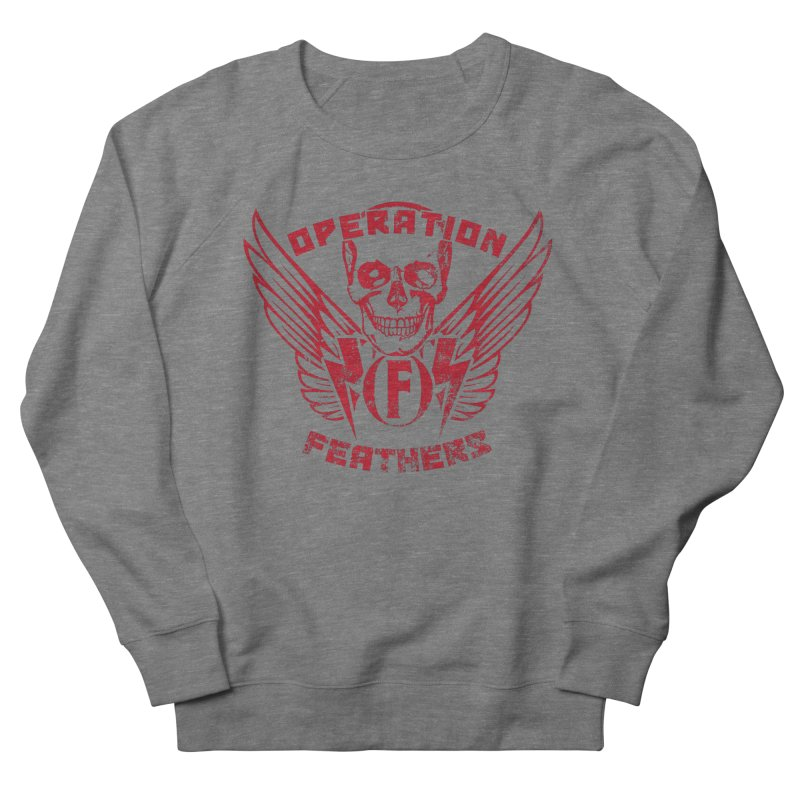 Operation Feathers Logo - Distressed Blood Red Men's French Terry Sweatshirt by The Evocative Workshop's SFX Art Studio Shop