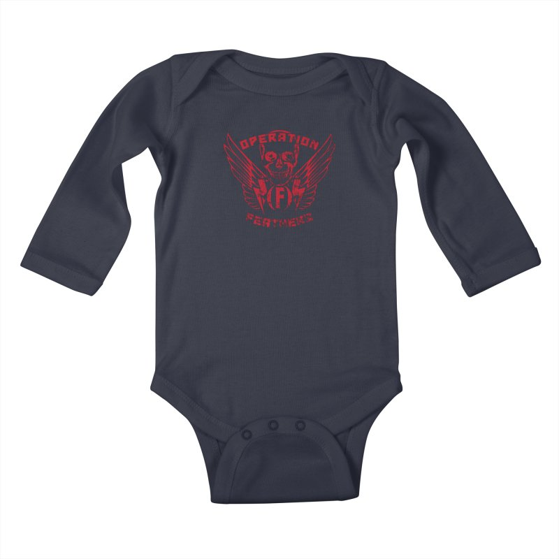 Operation Feathers Logo - Distressed Blood Red Kids Baby Longsleeve Bodysuit by The Evocative Workshop's SFX Art Studio Shop