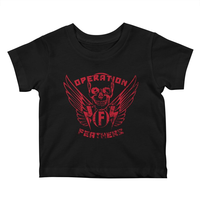Operation Feathers Logo - Distressed Blood Red Kids Baby T-Shirt by The Evocative Workshop's SFX Art Studio Shop