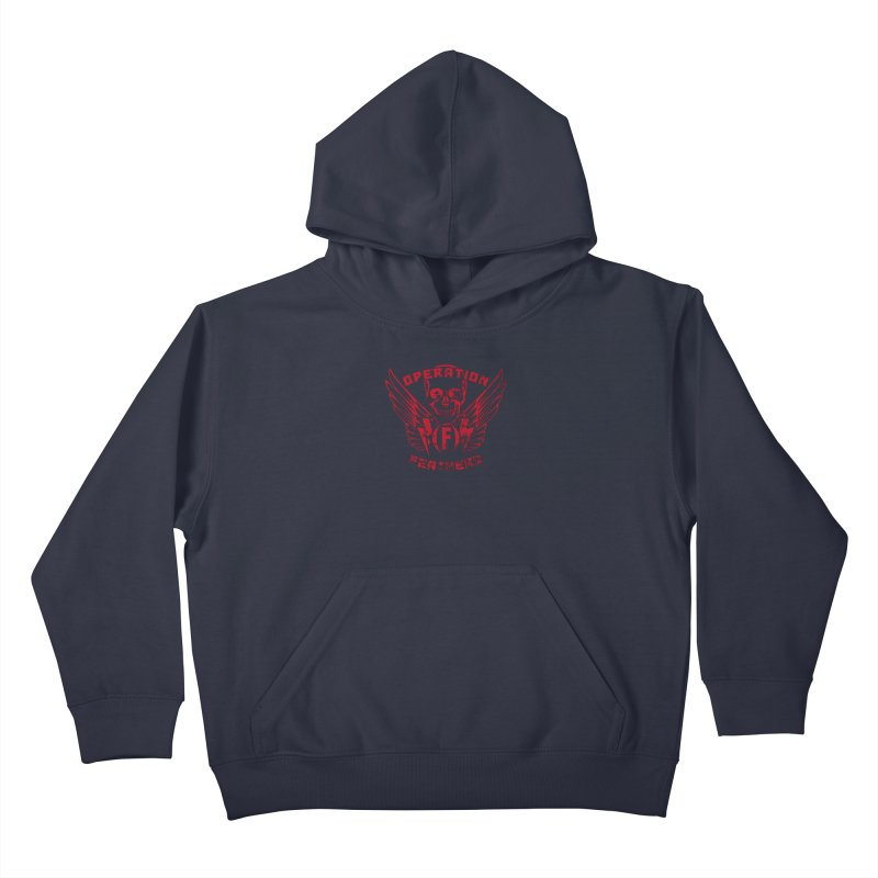 Operation Feathers Logo - Distressed Blood Red Kids Pullover Hoody by The Evocative Workshop's SFX Art Studio Shop