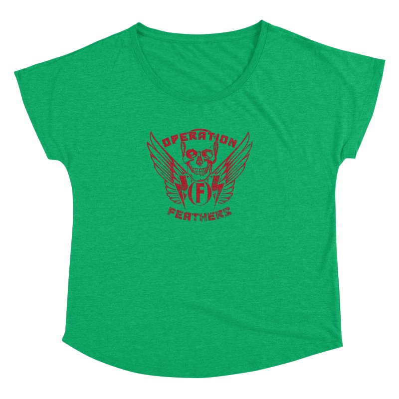 Operation Feathers Logo - Distressed Blood Red Women's Dolman Scoop Neck by The Evocative Workshop's SFX Art Studio Shop
