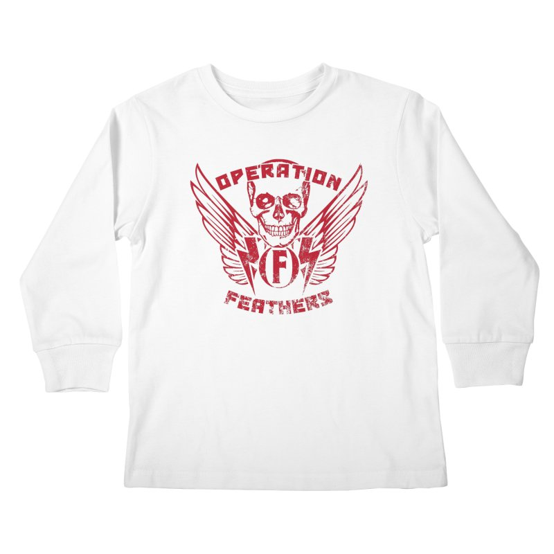 Operation Feathers Logo - Distressed Blood Red Kids Longsleeve T-Shirt by The Evocative Workshop's SFX Art Studio Shop