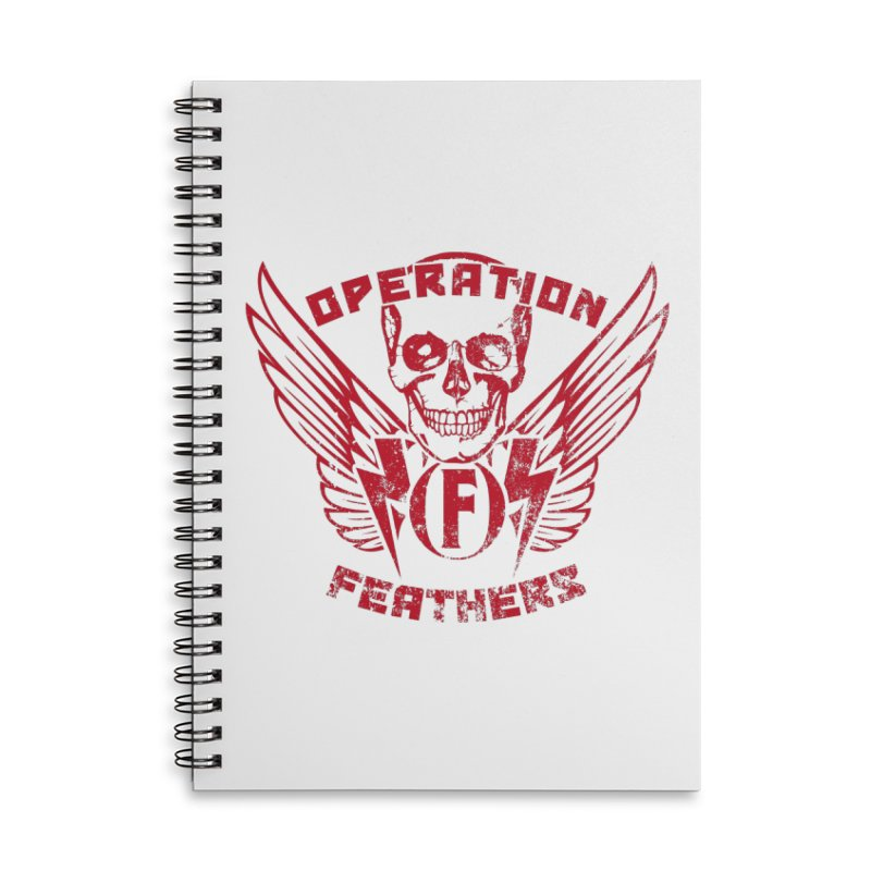 Operation Feathers Logo - Distressed Blood Red Accessories Notebook by The Evocative Workshop's SFX Art Studio Shop