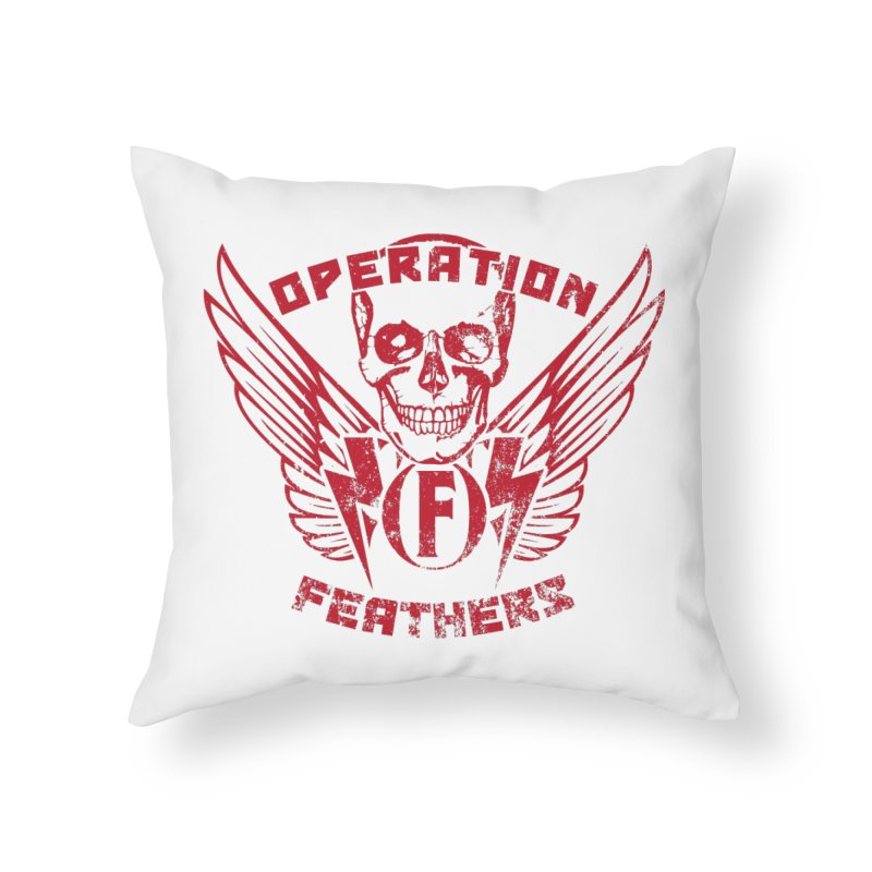 Operation Feathers Logo - Distressed Blood Red Home Throw Pillow by The Evocative Workshop's SFX Art Studio Shop