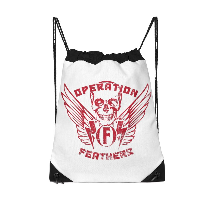 Operation Feathers Logo - Distressed Blood Red Accessories Drawstring Bag Bag by The Evocative Workshop's SFX Art Studio Shop