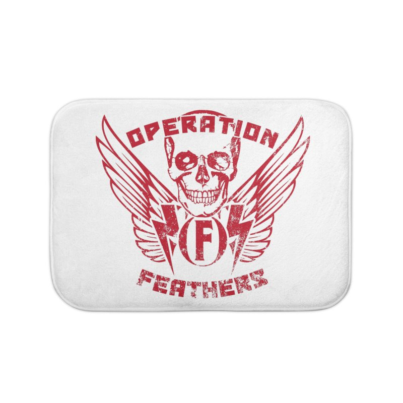 Operation Feathers Logo - Distressed Blood Red Home Bath Mat by The Evocative Workshop's SFX Art Studio Shop