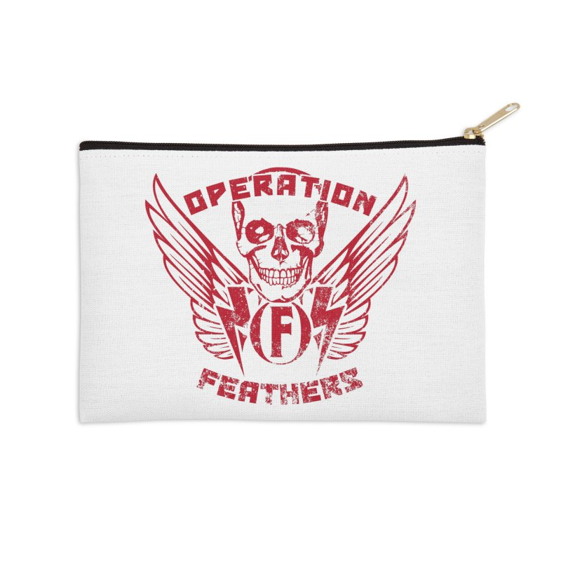 Operation Feathers Logo - Distressed Blood Red Accessories Zip Pouch by The Evocative Workshop's SFX Art Studio Shop