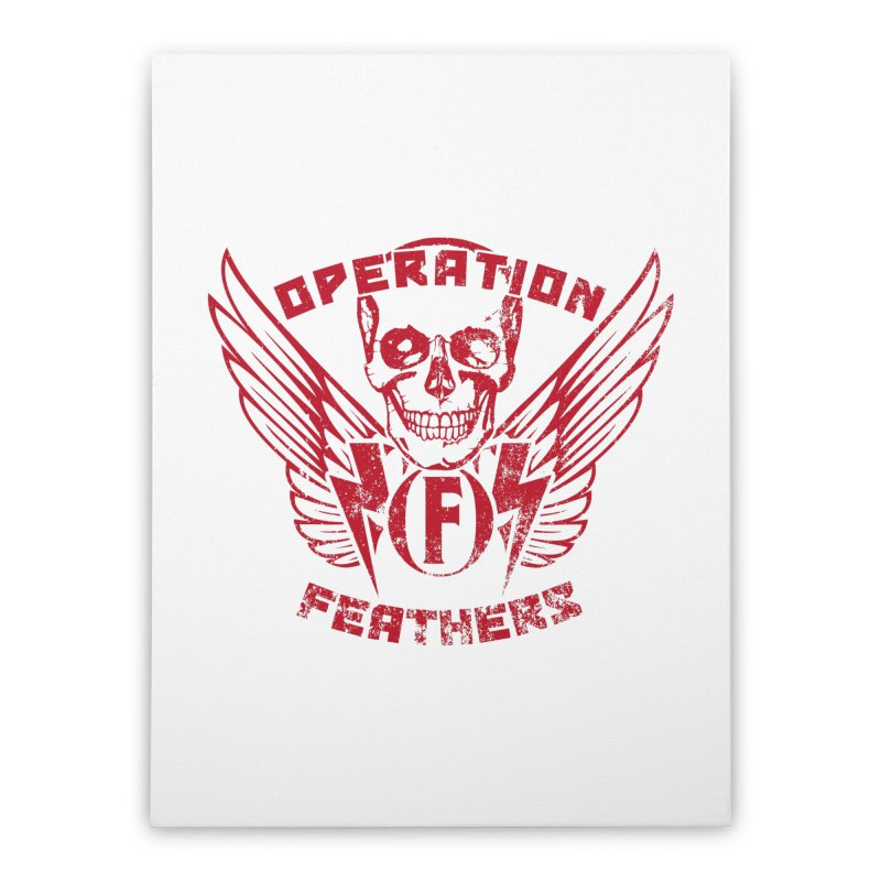 Operation Feathers Logo - Distressed Blood Red Home Stretched Canvas by The Evocative Workshop's SFX Art Studio Shop