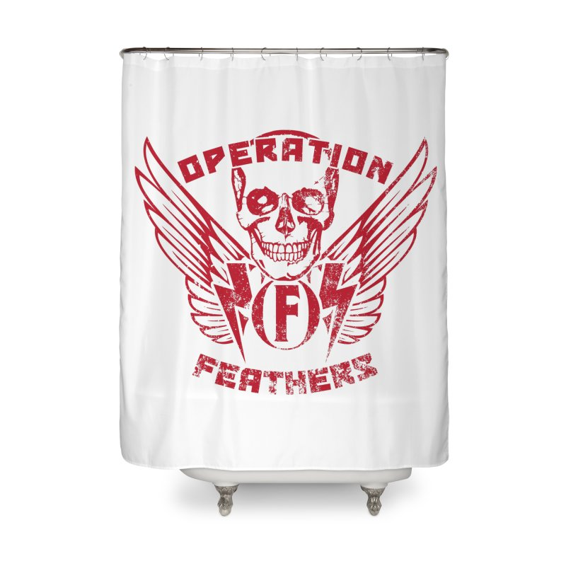 Operation Feathers Logo - Distressed Blood Red Home Shower Curtain by The Evocative Workshop's SFX Art Studio Shop