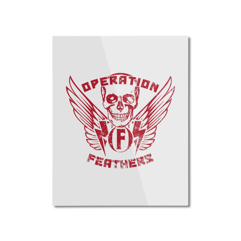 Operation Feathers Logo - Distressed Blood Red Home Mounted Aluminum Print by The Evocative Workshop's SFX Art Studio Shop