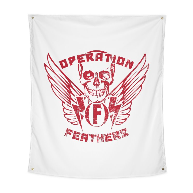 Operation Feathers Logo - Distressed Blood Red Home Tapestry by The Evocative Workshop's SFX Art Studio Shop