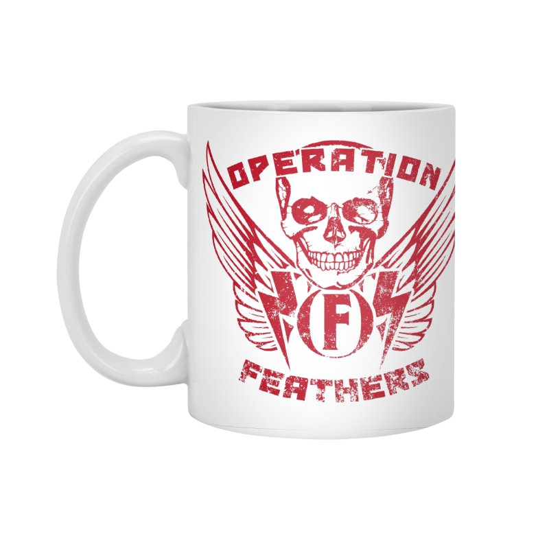 Operation Feathers Logo - Distressed Blood Red Accessories Standard Mug by The Evocative Workshop's SFX Art Studio Shop
