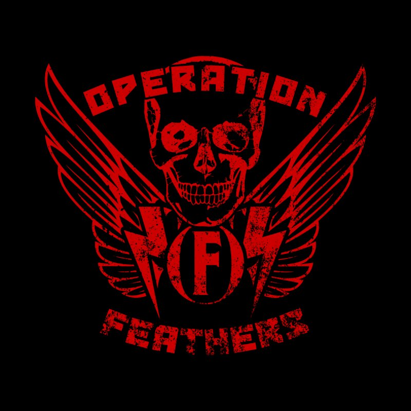 Operation Feathers Logo - Distressed Dark Red on Black Kids T-Shirt by The Evocative Workshop's SFX Art Studio Shop