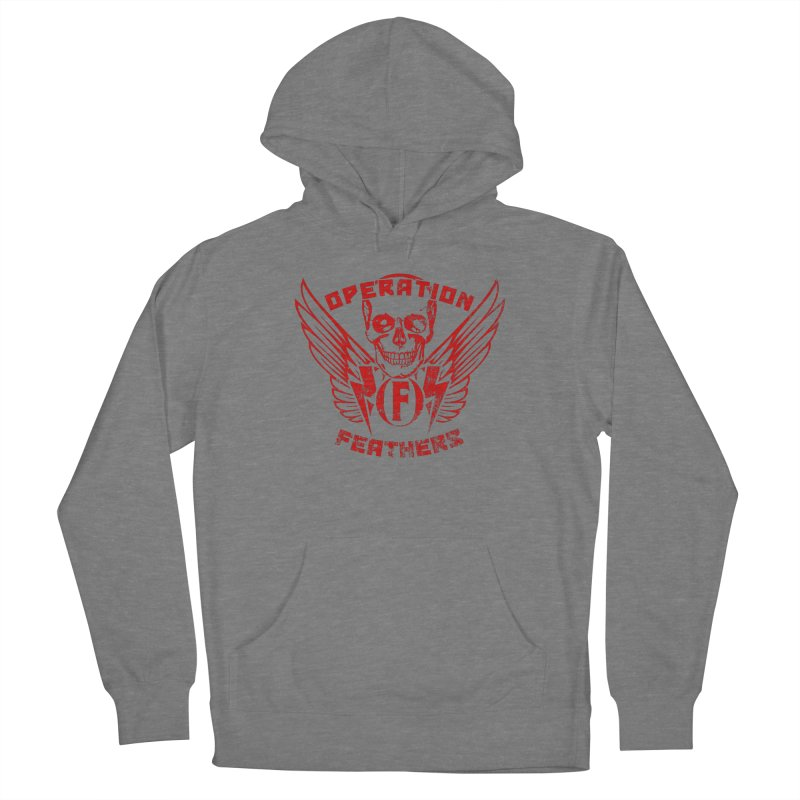 Operation Feathers Logo - Distressed Dark Red on Black Men's French Terry Pullover Hoody by The Evocative Workshop's SFX Art Studio Shop