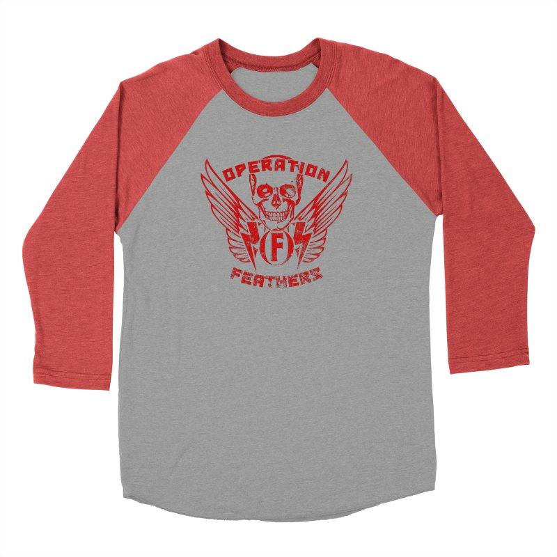 Operation Feathers Logo - Distressed Dark Red on Black Men's Longsleeve T-Shirt by The Evocative Workshop's SFX Art Studio Shop