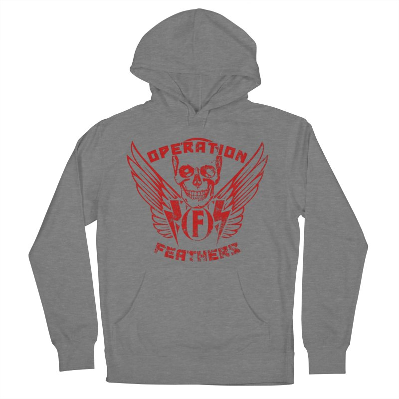 Operation Feathers Logo - Distressed Dark Red on Black Women's French Terry Pullover Hoody by The Evocative Workshop's SFX Art Studio Shop