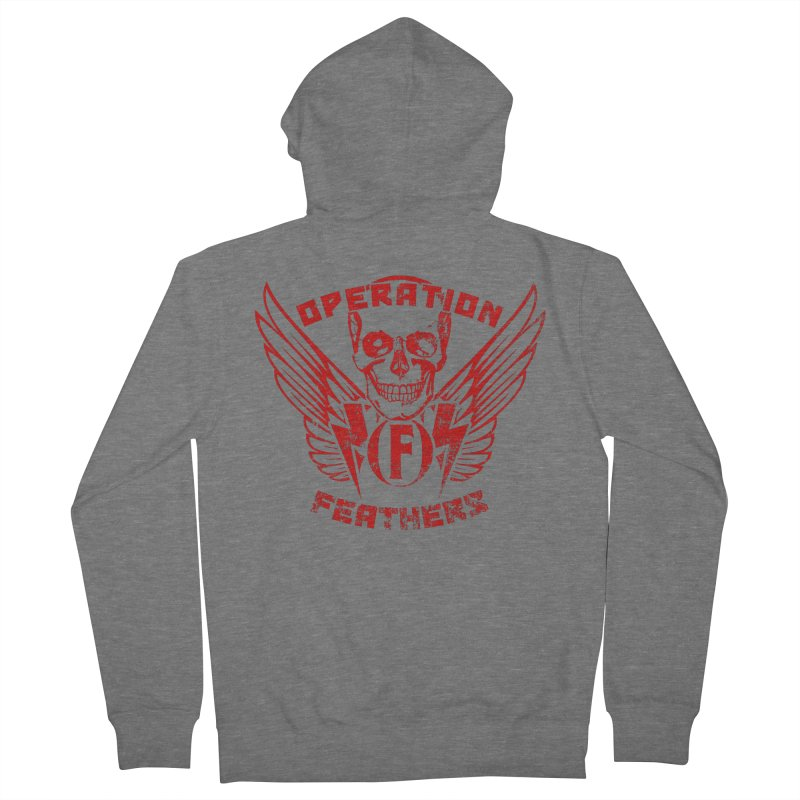 Operation Feathers Logo - Distressed Dark Red on Black Men's Zip-Up Hoody by The Evocative Workshop's SFX Art Studio Shop