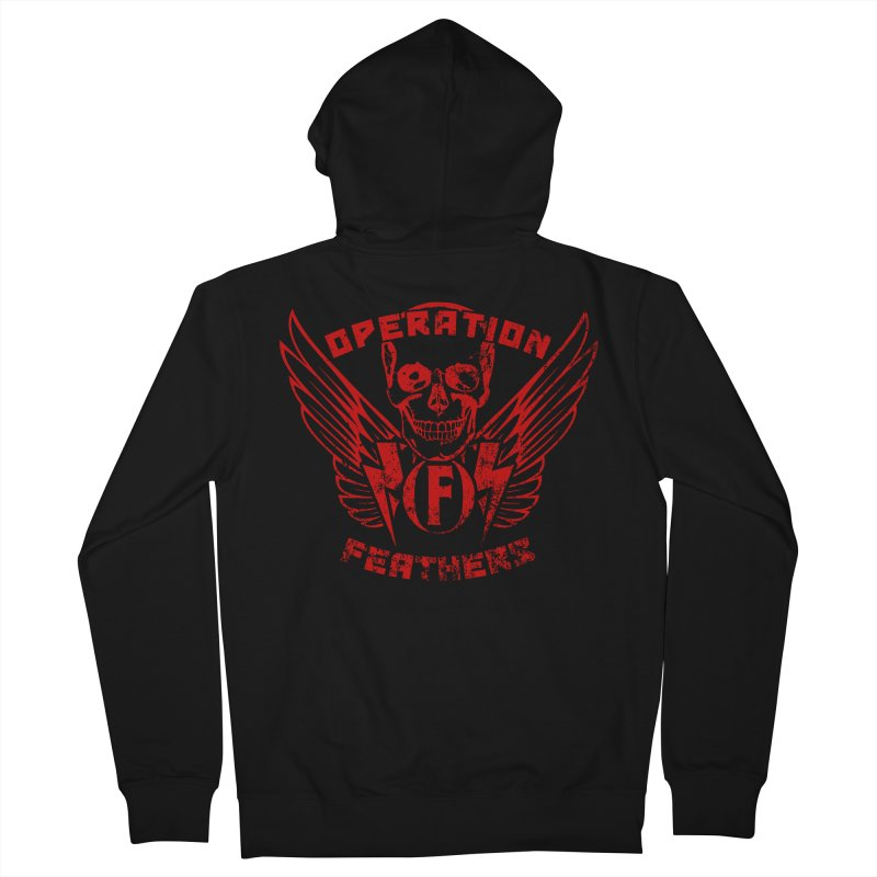Operation Feathers Logo - Distressed Dark Red on Black Men's French Terry Zip-Up Hoody by The Evocative Workshop's SFX Art Studio Shop