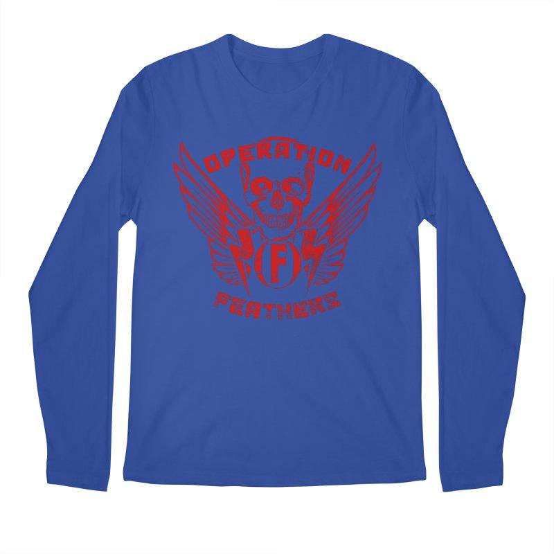 Operation Feathers Logo - Distressed Dark Red on Black Men's Regular Longsleeve T-Shirt by The Evocative Workshop's SFX Art Studio Shop