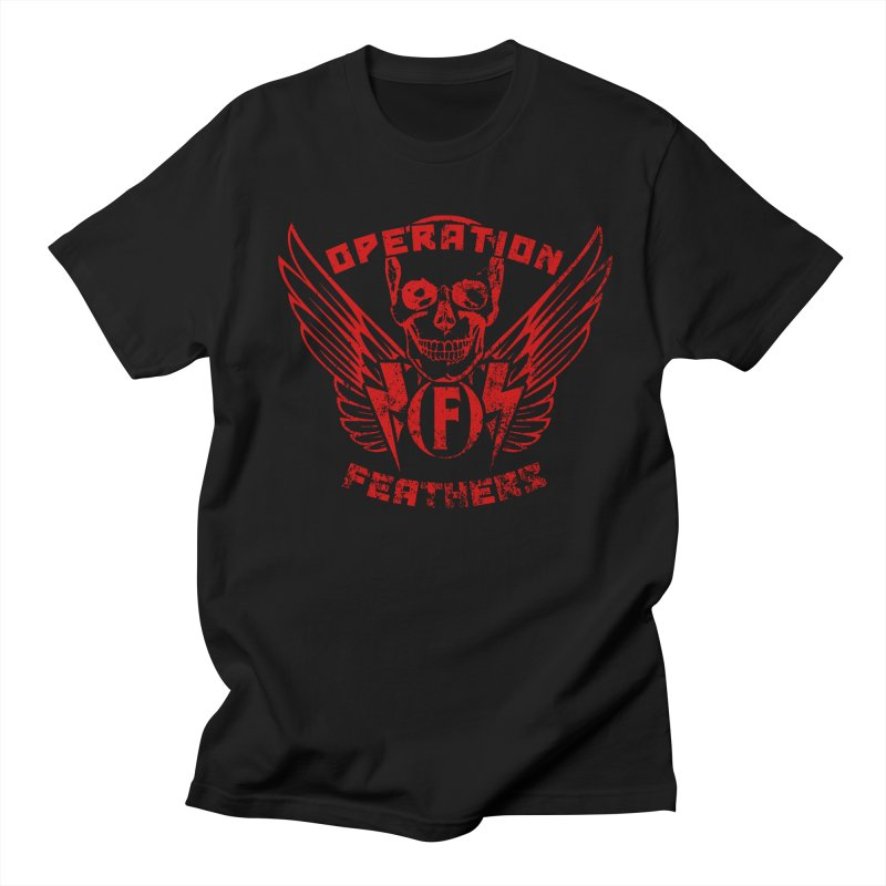 Operation Feathers Logo - Distressed Dark Red on Black Men's T-Shirt by The Evocative Workshop's SFX Art Studio Shop