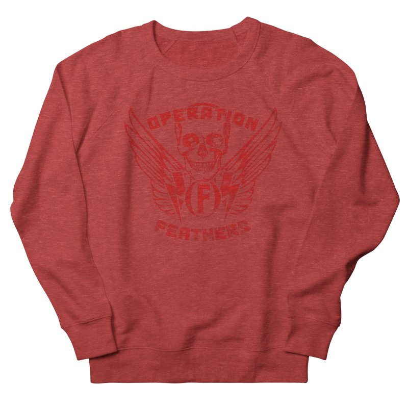 Operation Feathers Logo - Distressed Dark Red on Black Men's French Terry Sweatshirt by The Evocative Workshop's SFX Art Studio Shop