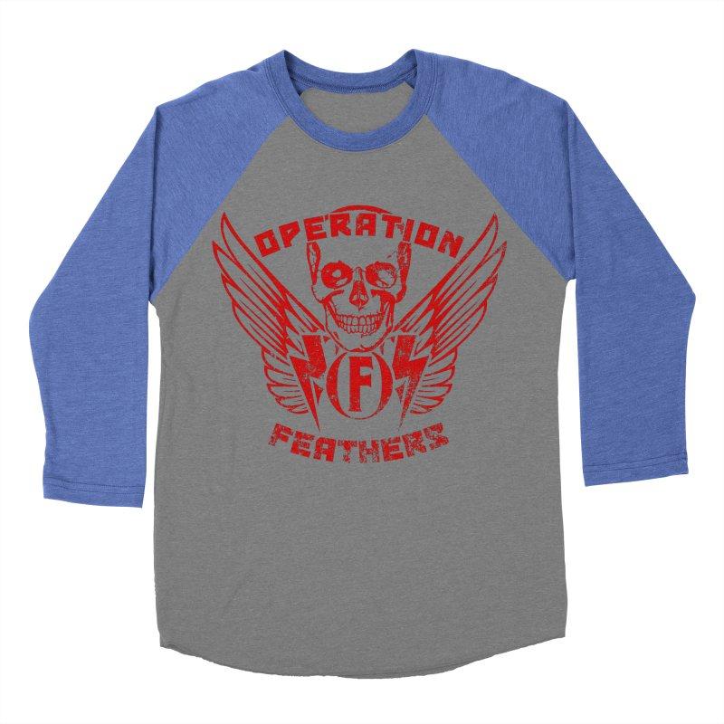 Operation Feathers Logo - Distressed Dark Red on Black Women's Baseball Triblend Longsleeve T-Shirt by The Evocative Workshop's SFX Art Studio Shop
