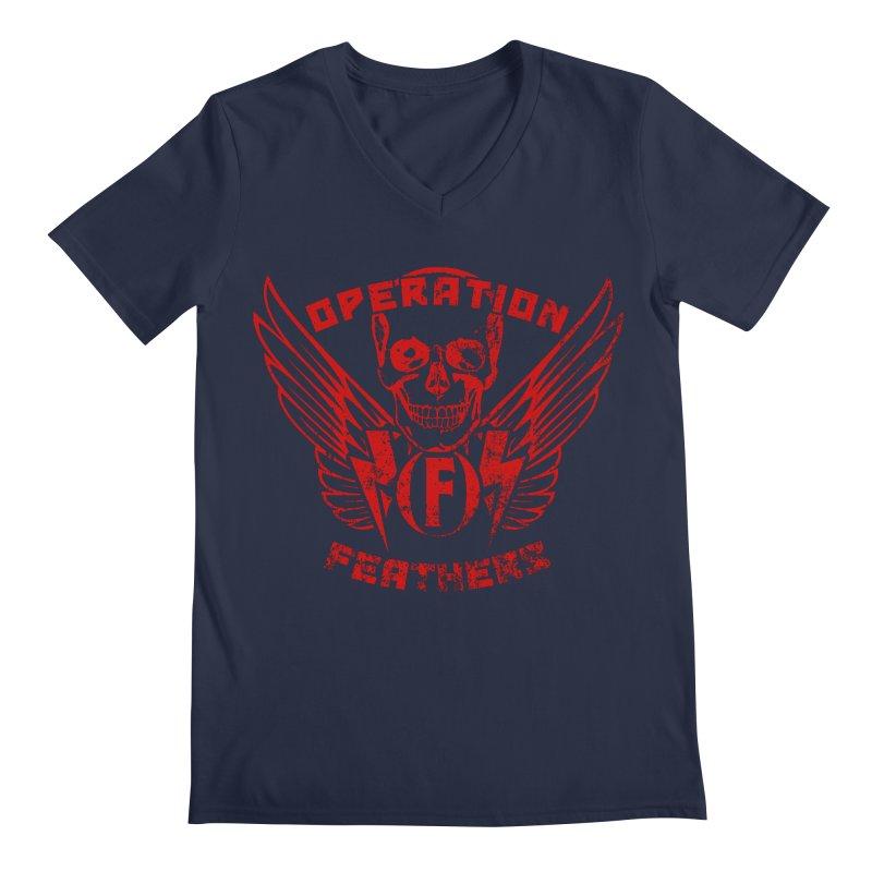 Operation Feathers Logo - Distressed Dark Red on Black Men's V-Neck by The Evocative Workshop's SFX Art Studio Shop