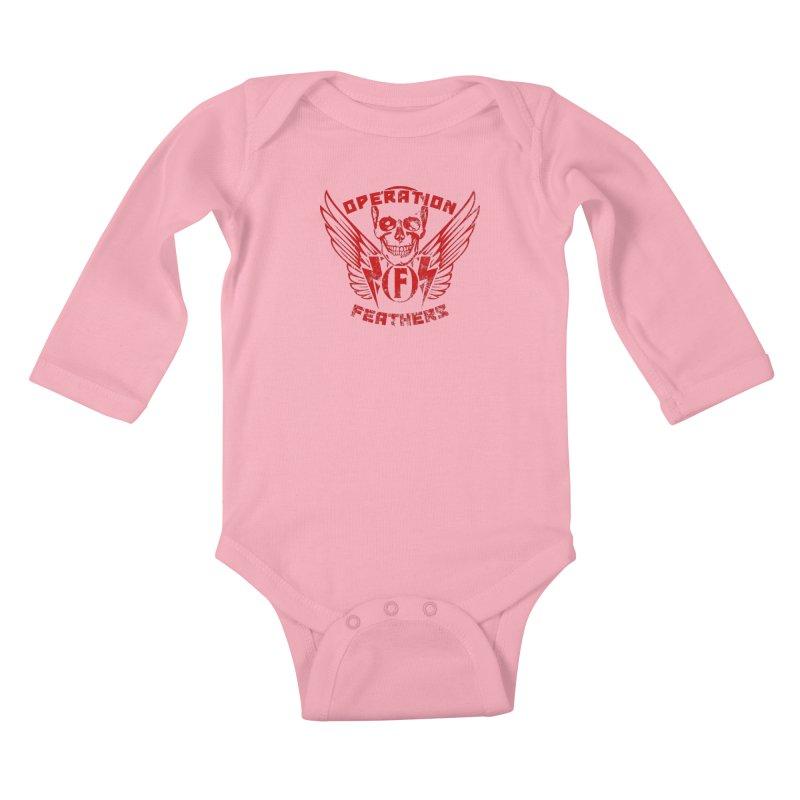 Operation Feathers Logo - Distressed Dark Red on Black Kids Baby Longsleeve Bodysuit by The Evocative Workshop's SFX Art Studio Shop