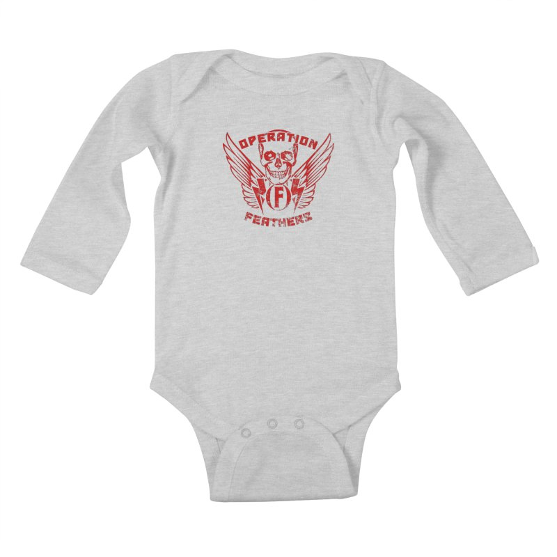 Operation Feathers Logo - Distressed Dark Red on Black Kids Baby Longsleeve Bodysuit by The Evocative Workshop's SFX Art Studio Shop