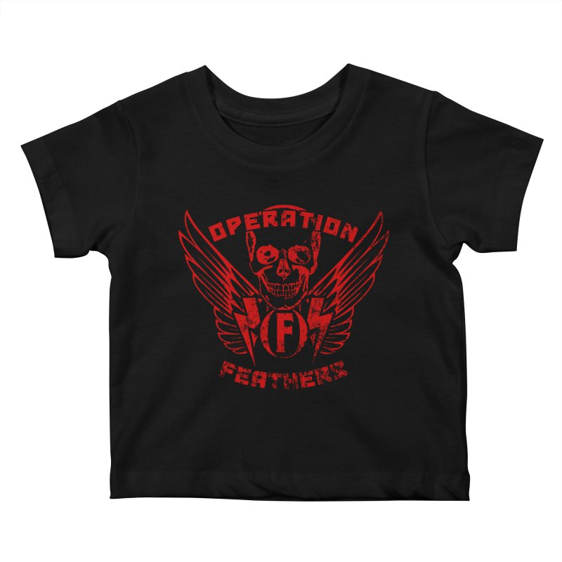 Operation Feathers Logo - Distressed Dark Red on Black Kids Baby T-Shirt by The Evocative Workshop's SFX Art Studio Shop