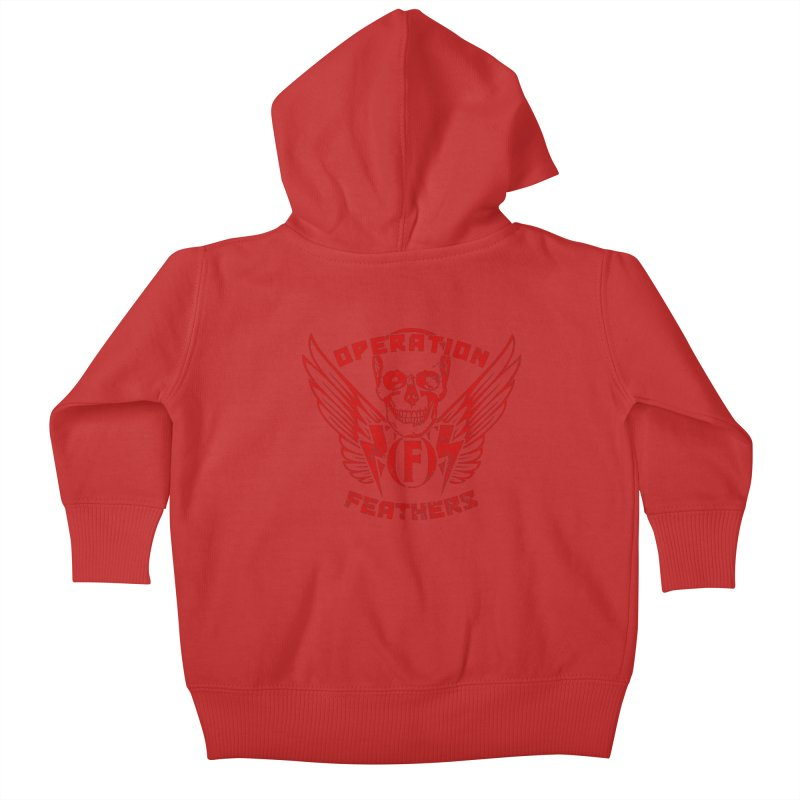 Operation Feathers Logo - Distressed Dark Red on Black Kids Baby Zip-Up Hoody by The Evocative Workshop's SFX Art Studio Shop