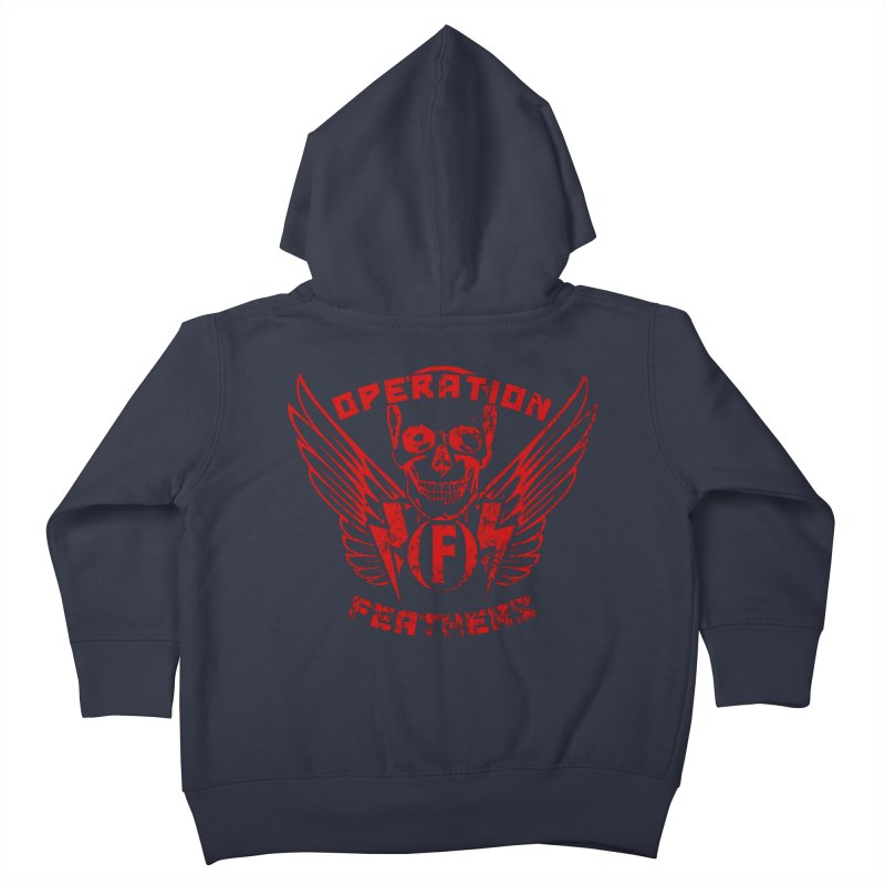Operation Feathers Logo - Distressed Dark Red on Black Kids Toddler Zip-Up Hoody by The Evocative Workshop's SFX Art Studio Shop
