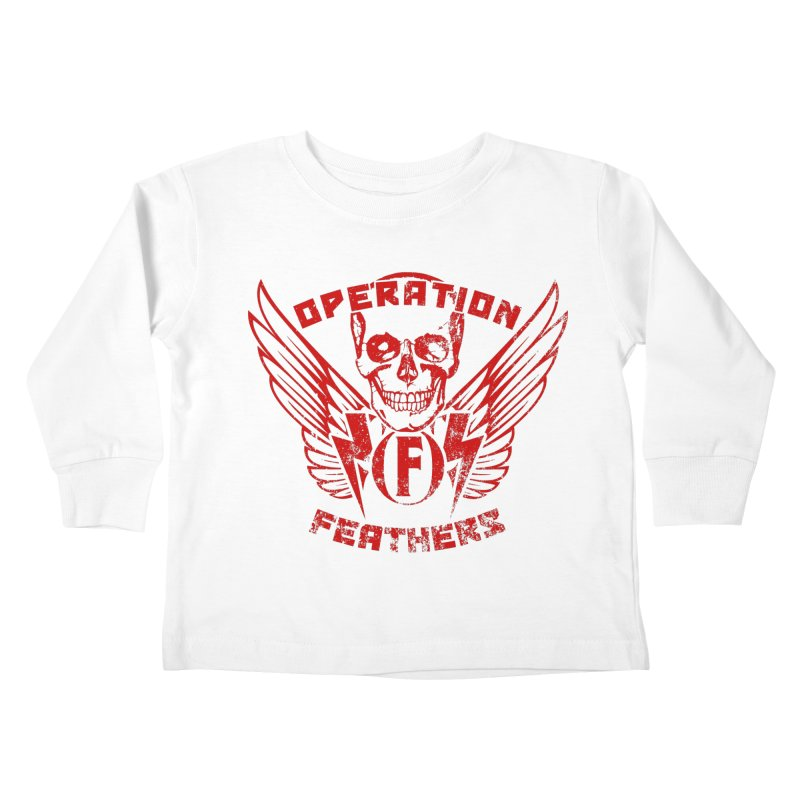 Operation Feathers Logo - Distressed Dark Red on Black Kids Toddler Longsleeve T-Shirt by The Evocative Workshop's SFX Art Studio Shop