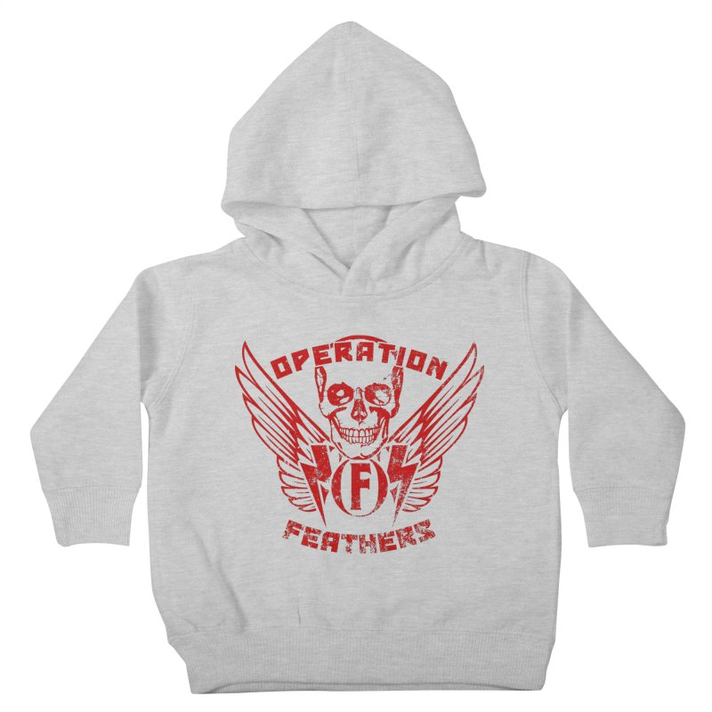 Operation Feathers Logo - Distressed Dark Red on Black Kids Toddler Pullover Hoody by The Evocative Workshop's SFX Art Studio Shop