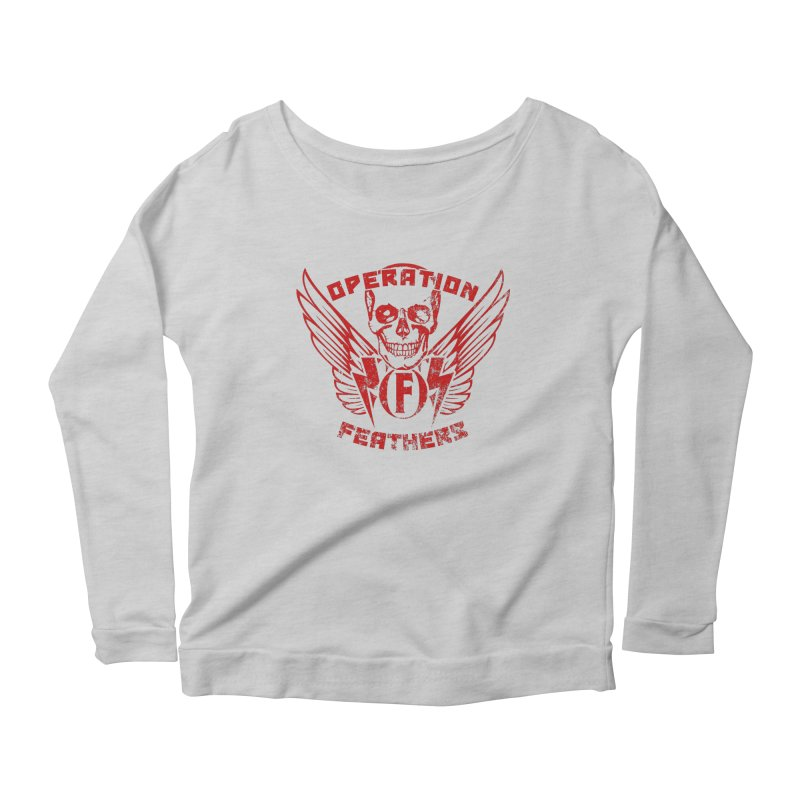 Operation Feathers Logo - Distressed Dark Red on Black Women's Scoop Neck Longsleeve T-Shirt by The Evocative Workshop's SFX Art Studio Shop