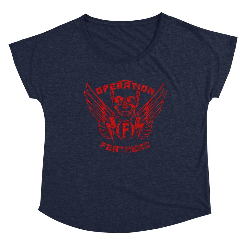 Operation Feathers Logo - Distressed Dark Red on Black Women's Scoop Neck by The Evocative Workshop's SFX Art Studio Shop