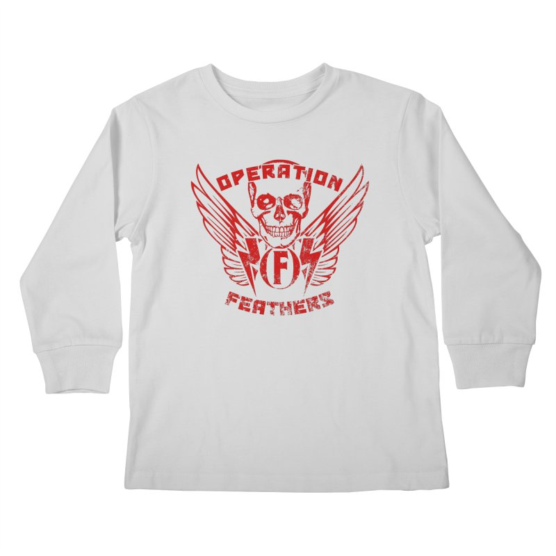 Operation Feathers Logo - Distressed Dark Red on Black Kids Longsleeve T-Shirt by The Evocative Workshop's SFX Art Studio Shop