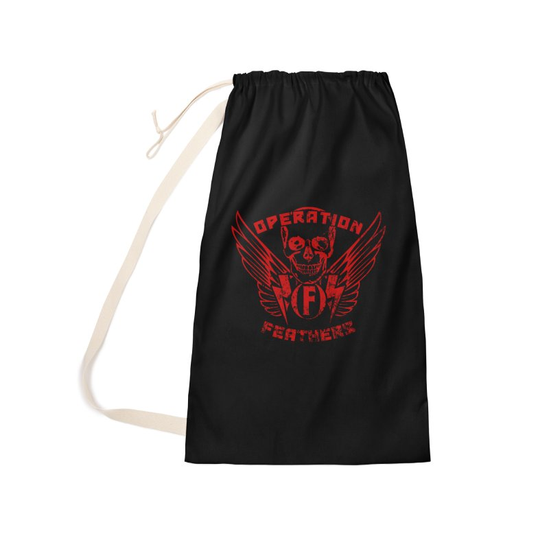 Operation Feathers Logo - Distressed Dark Red on Black Accessories Bag by The Evocative Workshop's SFX Art Studio Shop