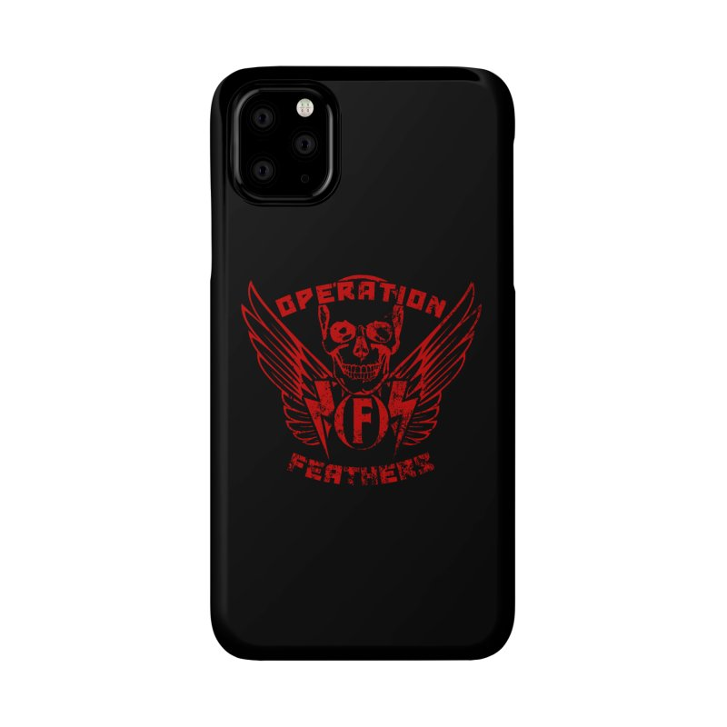 Operation Feathers Logo - Distressed Dark Red on Black Accessories Phone Case by The Evocative Workshop's SFX Art Studio Shop