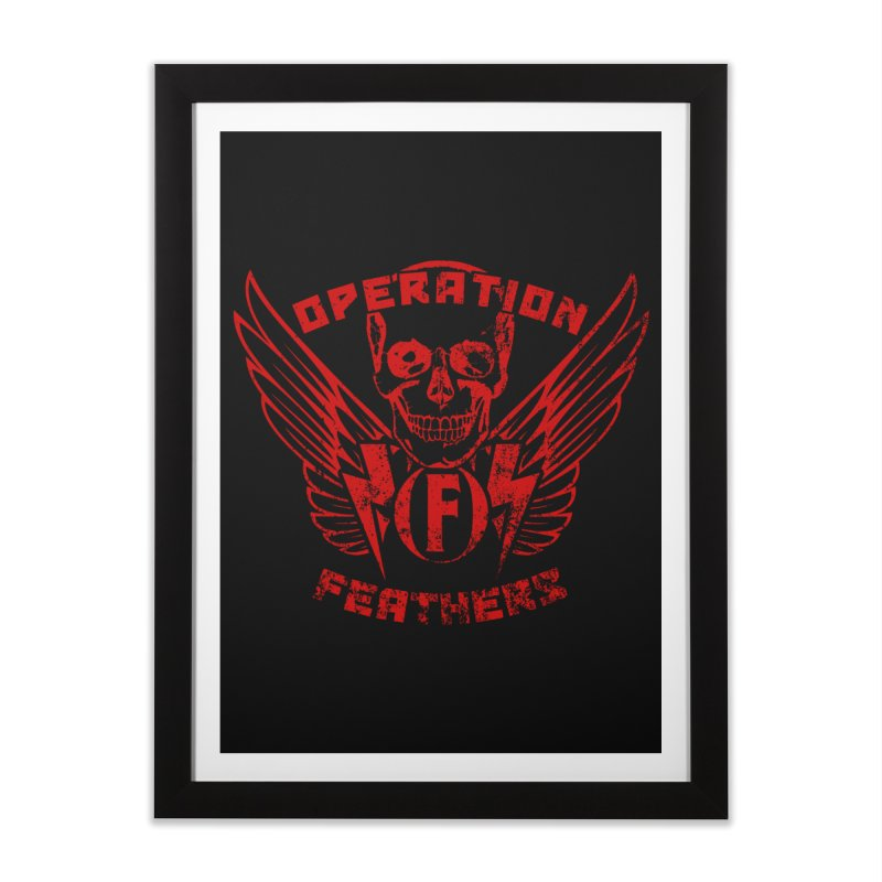 Operation Feathers Logo - Distressed Dark Red on Black Home Framed Fine Art Print by The Evocative Workshop's SFX Art Studio Shop