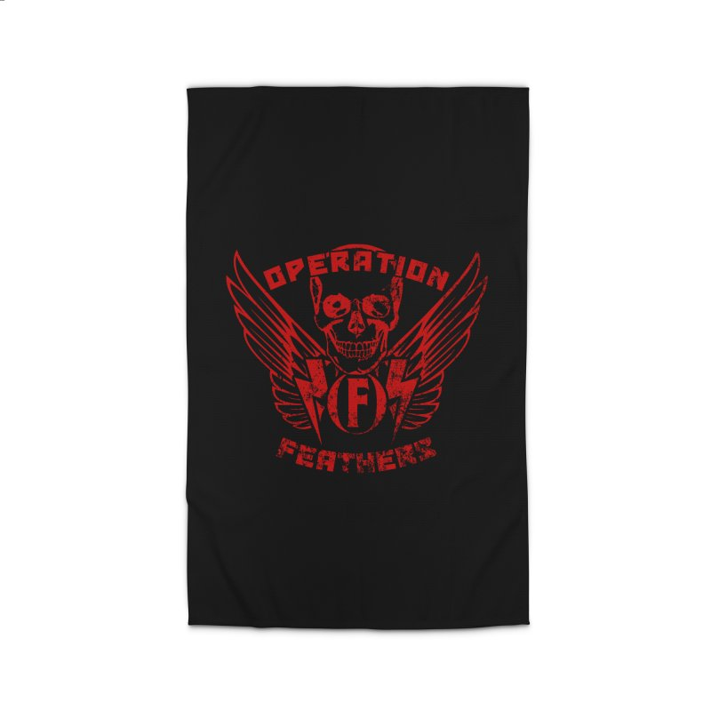 Operation Feathers Logo - Distressed Dark Red on Black Home Rug by The Evocative Workshop's SFX Art Studio Shop