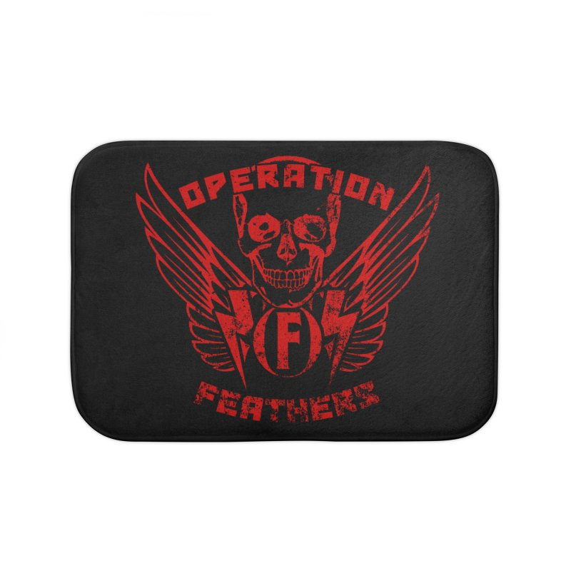 Operation Feathers Logo - Distressed Dark Red on Black Home Bath Mat by The Evocative Workshop's SFX Art Studio Shop