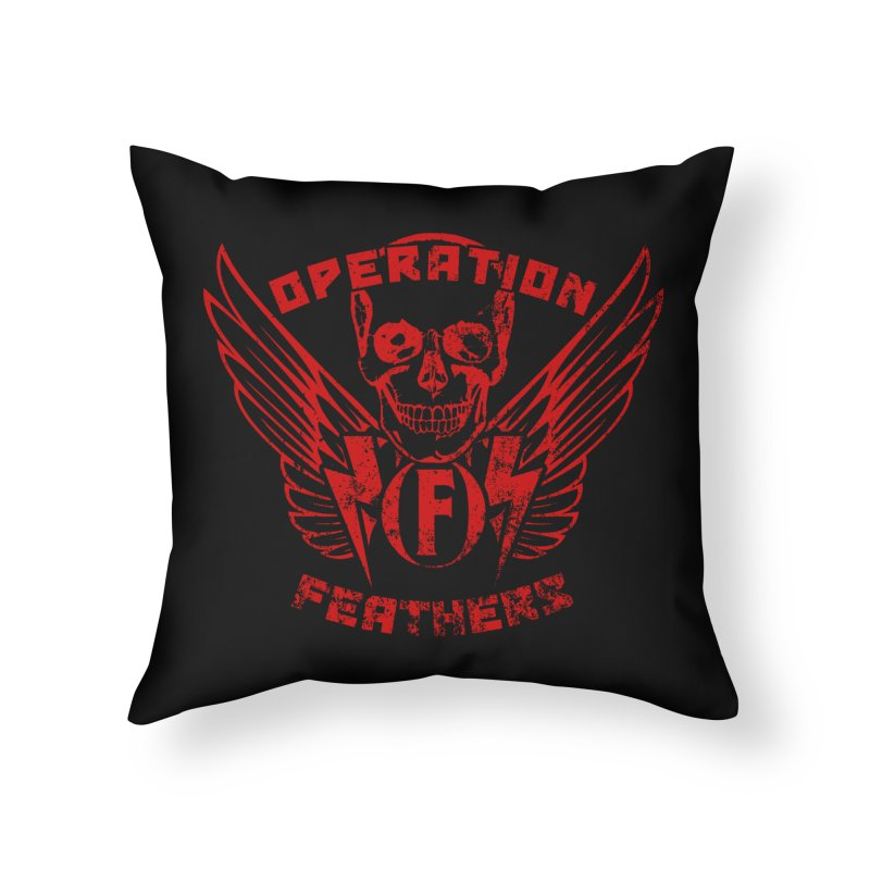 Operation Feathers Logo - Distressed Dark Red on Black Home Throw Pillow by The Evocative Workshop's SFX Art Studio Shop